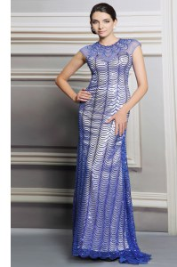 Lovely Blue Scoop Neckline Beading and Sequins Hoco Dress Sleeveless Backless