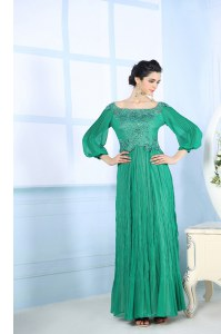 Exquisite Square 3 4 Length Sleeve Zipper Prom Dresses Green Chiffon