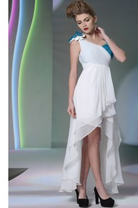 White Asymmetric Side Zipper Ruffled Layers and Sequins and Hand Made Flower Dress for Prom Sleeveless