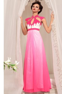 Hot Pink Chiffon Zipper High-neck Sleeveless Floor Length Prom Gown Beading