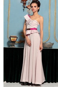 Custom Fit Pink Sleeveless Organza Side Zipper Prom Dress for Prom and Party