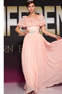 Captivating Scoop Pink Empire Ruffles and Belt Evening Dress Side Zipper Chiffon Short Sleeves Floor Length
