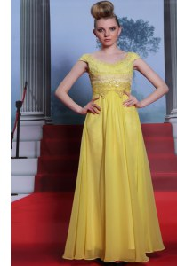 Noble Scalloped Chiffon Short Sleeves Floor Length Prom Dresses and Beading and Appliques and Pleated