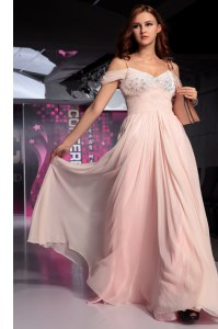 Latest Pink Short Sleeves Floor Length Beading and Ruching Backless Prom Dresses