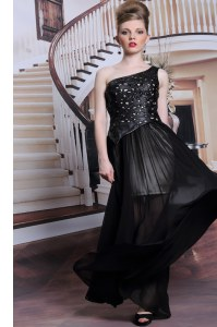 One Shoulder Sleeveless Prom Dress Floor Length Appliques Black Chiffon