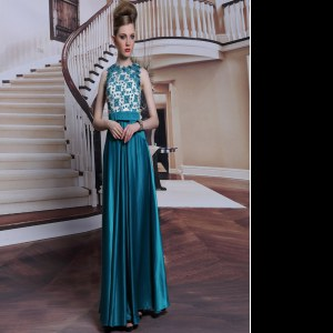 Teal Scalloped Clasp Handle Beading and Appliques Prom Party Dress Sleeveless