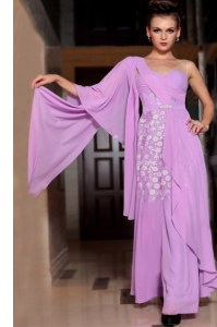 Super Lilac Half Sleeves Beading and Ruching Ankle Length Prom Party Dress
