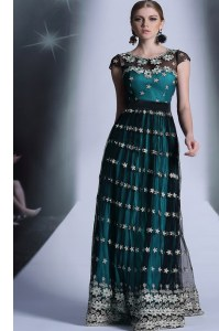 Scoop Teal Cap Sleeves Appliques and Pleated Floor Length Prom Gown