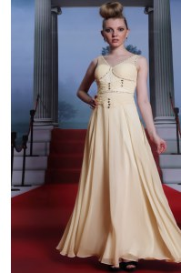 Light Yellow Sleeveless Floor Length Beading and Ruching Side Zipper Prom Gown