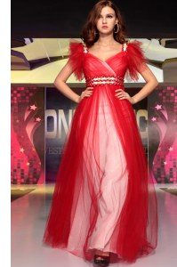 Exceptional Floor Length Red Prom Evening Gown V-neck Sleeveless Zipper