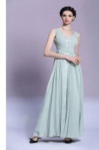 Floor Length Light Blue V-neck Sleeveless Backless