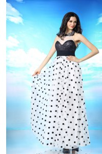 Halter Top White And Black Chiffon Side Zipper Prom Evening Gown Sleeveless Ankle Length Beading and Sequins and Ruching