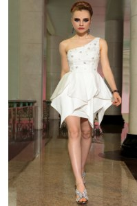 White Side Zipper One Shoulder Beading Club Wear Chiffon Sleeveless