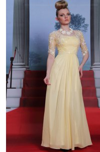 Designer Light Yellow Prom and Party and For with Lace and Ruching Spaghetti Straps Half Sleeves Zipper