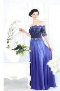 Superior Scalloped Blue Half Sleeves Chiffon Zipper Prom Party Dress for Prom and Party