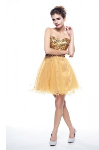 Shining Sweetheart Sleeveless Organza Cocktail Dresses Beading and Sequins Side Zipper