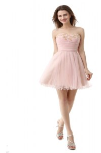 Chic Pink Sleeveless Organza Zipper Club Wear for Prom and Party