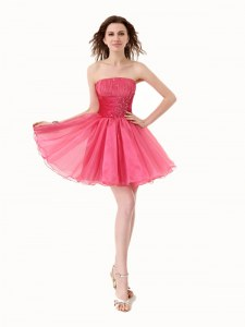 Custom Design Hot Pink A-line Strapless Sleeveless Organza Knee Length Lace Up Beading Homecoming Dress