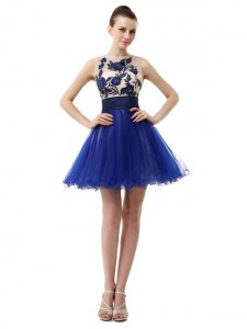 Scoop Royal Blue Organza Clasp Handle Cocktail Dresses Sleeveless Knee Length Appliques