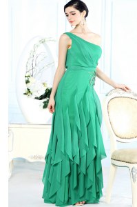 Fitting One Shoulder Floor Length Green Dress for Prom Chiffon Sleeveless Appliques