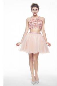Exceptional Scoop Knee Length Peach Cocktail Dresses Chiffon Sleeveless Beading