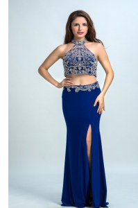 New Arrival Halter Top Sleeveless Backless Prom Dress Royal Blue Chiffon