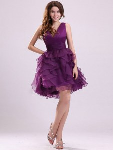 Purple Club Wear Prom and Party and For with Ruffles V-neck Sleeveless Zipper