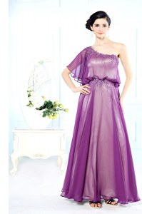 Flare Floor Length Purple One Shoulder Half Sleeves Side Zipper