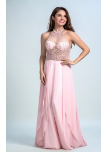 Glorious Halter Top Sleeveless Floor Length Beading Criss Cross Homecoming Dress with Baby Pink