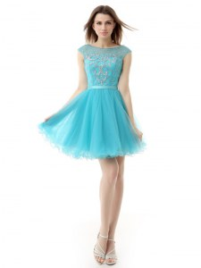 Chic Aqua Blue Cocktail Dresses Prom and Party and For with Beading Bateau Sleeveless Zipper