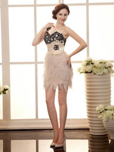 Attractive Peach Cocktail Dresses Prom and Party and For with Beading and Appliques One Shoulder Sleeveless Zipper