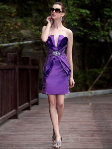 Sleeveless Zipper Knee Length Beading and Appliques Prom Party Dress