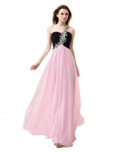 Pink And Black Zipper One Shoulder Beading and Appliques and Ruffles Prom Party Dress Chiffon Sleeveless