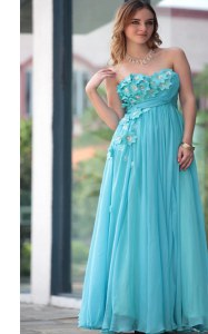 Floor Length Aqua Blue Homecoming Dress Sweetheart Sleeveless Zipper