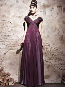 Purple Chiffon Side Zipper Homecoming Dress Cap Sleeves Floor Length Beading and Ruching