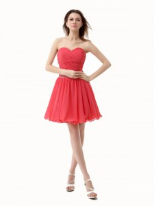 Watermelon Red Zipper Sweetheart Beading and Ruching Club Wear Chiffon Sleeveless