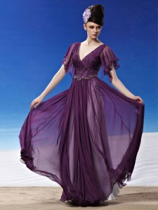 Fine Chiffon Short Sleeves Ankle Length Evening Gowns and Beading and Ruching