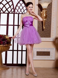 Lilac Sleeveless Belt and Hand Made Flower Mini Length Cocktail Dresses