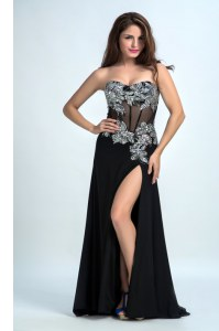 Sleeveless With Train Beading Zipper Prom Dress with Black Brush Train
