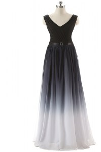 Chiffon V-neck Sleeveless Lace Up Ruching and Belt Prom Evening Gown in Black