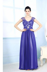 Chiffon Scoop Sleeveless Zipper Beading and Appliques Homecoming Dress in Blue