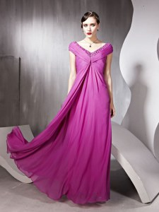 Glorious Rose Pink V-neck Neckline Beading and Ruching Prom Gown Cap Sleeves Zipper