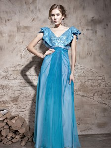 Teal Cap Sleeves Floor Length Sequins Zipper Prom Dress