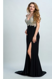 Black Straps Backless Beading Evening Party Dresses Brush Train Sleeveless