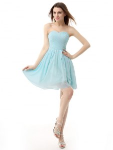 Sleeveless Chiffon Knee Length Lace Up Dress for Prom in Light Blue with Ruching