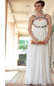 White Chiffon Side Zipper Prom Dresses Sleeveless Floor Length Beading and Ruching