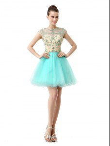 Attractive Scoop Knee Length Zipper Cocktail Dresses Aqua Blue for Prom and Party with Beading