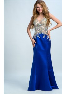 Top Selling Floor Length Royal Blue Prom Party Dress V-neck Sleeveless Backless