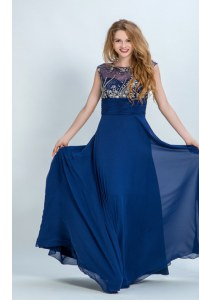 Scoop Floor Length Zipper Prom Party Dress Navy Blue for Prom and Party with Beading