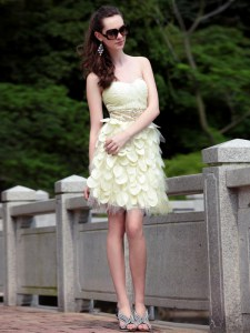 Flare Light Yellow Sweetheart Neckline Beading and Ruffles Prom Dress Sleeveless Zipper